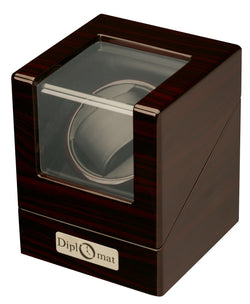 Diplomat Estate Ebony Wood Finish Single Watch Winder with Cream Interior and Smart Internal Bi-Directional Timer Control, Battery/AC Powered