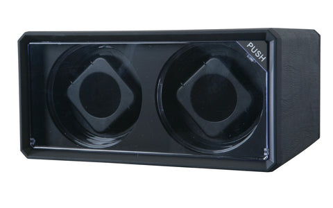 Diplomat Economy Black Leatherette Double Watch Winder with Blue LED's and Smart Internal Bi-Directional Timer Control