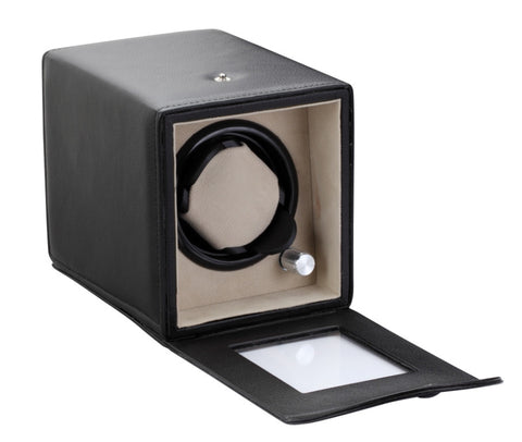 Diplomat Estate Black Leatherette Single Watch Winder with Tan Suede Interior with Smart Internal Bi-Directional Timer Control, Battery/AC Powered