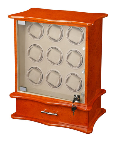 Diplomat Estate Burl Wood Finish Nine Watch Winder with Cream Interior and Additional Storage for 8 Watches and Smart Internal Bi-Directional Timer Control