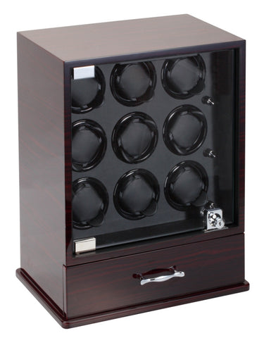 Diplomat Gothica Ebony Wood Finish Nine Watch Winder with Black Interior and Additional Storage for 8 Watches and Smart Internal Bi-Directional Timer Control