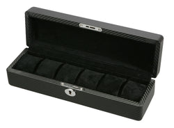 Diplomat Black Carbon Fiber Pattern Six Watch Case with Black Suede Interior