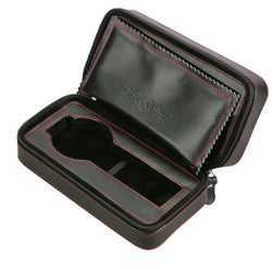 Diplomat Black Leatherette Travel Pouch for Two Watches with Black Suede Interior