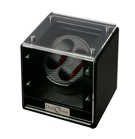 Diplomat Gothica Black Wood Double Watch Winder with Black Carbon Fiber Pattern Interior and Smart Internal Bi-Directional Timer Control, Battery/AC Powered