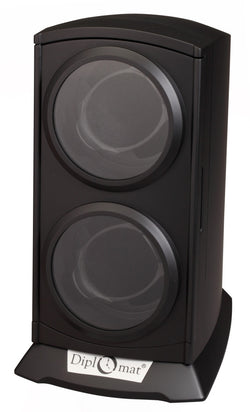Diplomat Economy Matte Black Double Watch Winder With Smart Internal Bi-Directional Timer Control