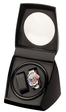 Diplomat Economy Piano Finish Black Double Watch Winder with Black ...
