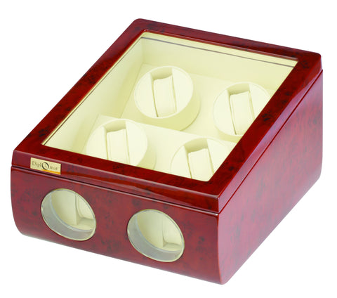 Diplomat Windsor Quad Watch Winder with Cream Interior and Additional Storage for 2 Watches and Smart Internal Bi-Directional Timer Control