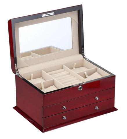 Diplomat High Gloss Cherry Wood Jewelry Chest With 2 Drawers and Locking Lid and Café Colored Suede Interior