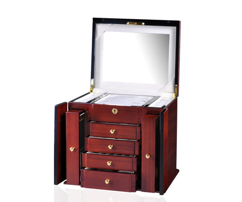 Diplomat Elegant Teak Wood Finish Jewelry Chest with 4 Drawers and 2 Pull Out Chain Racks and Locking Lid With Cream Suede Interior