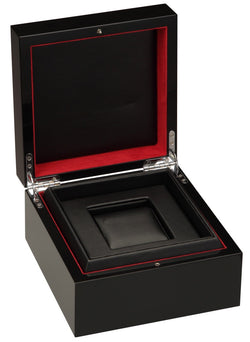 Diplomat Black Piano Finish Sinlge Watch Case with Black Leatherette Interior and Red Accents