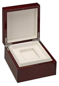 Diplomat Cherry Wood Piano Finish Sinlge Watch Case with White Leatherette Interior
