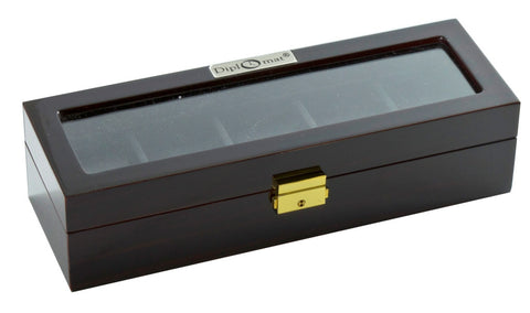 Diplomat Five Watch Case With Black Leatherette Interior and Locking Lid