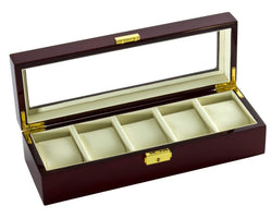 Diplomat Five Watch Case With Cream Leatherette Interior and Locking Lid