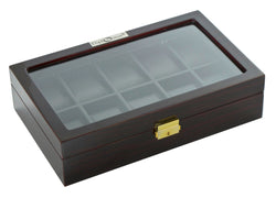 Diplomat Ten Watch Case With Black Leatherette Interior and Locking Lid