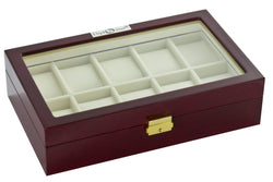 Diplomat Ten Watch Case With Cream Leatherette Interior and Locking Lid