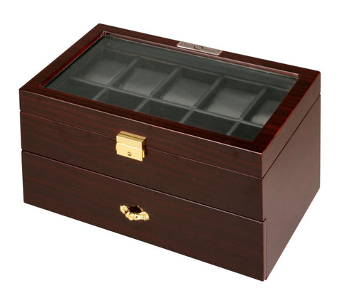 Diplomat Twenty Watch Case With Black Leatherette Interior and Locking Lid
