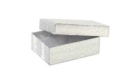 100Pc Silver Foil Cotton Box Filled #32 Jewelry Boxes Sz 3 1/4''Lx2 1/4''Wx1''H