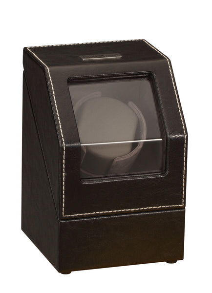 Diplomat Black Leather Single Watch Winder with Gray Microfiber Suede Interior and Smart Internal Bi-Directional Timer Control, Battery/AC Powered