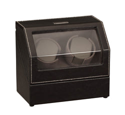 Diplomat Black Leather Double Watch Winder with Gray Microfiber Suede Interior and Smart Internal Bi-Directional Timer Control, Battery/AC Powered
