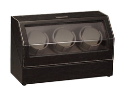 Diplomat Black Leather Triple Watch Winder with Gray Microfiber Suede Interior and Smart Internal Bi-Directional Timer Control