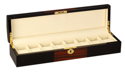 Diplomat Black Wood Finish Eight Watch Storage Case with Teak Wood Finish Accents and Soft Cream Leatherette Interior