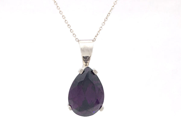 925 Sterling Silver Pear Shaped Deep Purple Created Amethyst Pendant 18x13 10.21CT