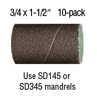 "Foredom 3/4"" x 1-1/2"" Aluminum Oxide BANDS 10-Pks 60, 80, 120, 220 grit"
