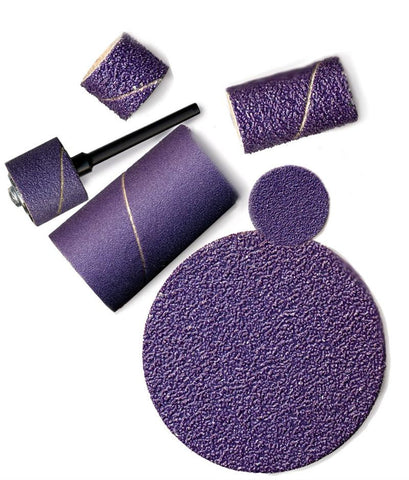"Foredom 3/4"" x 1-1/2"" Ceramic Purple BANDS 10-Pks 60, 80, 120, 220 grit"