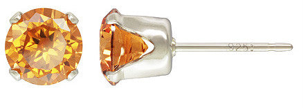 2pc. Sterling Silver 6.0mm Snap-in AAA Cognac CZ Post Earring