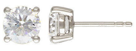 2pc. Sterling Silver 7.0mm CZ 4 Prong Post Earring