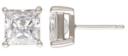 Copy of 2pc. Sterling Silver 8.0mm Princess CZ Post Earring
