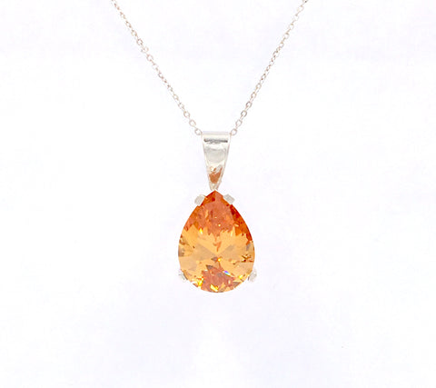 925 Sterling Silver Pear Shaped Golden Citrine Solitaire Pendant 18x13 10.21 CT Lab Created