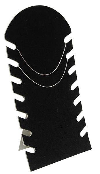 "Black Flocked Cardboard Multiple Necklace Display, 7 1/2""W x 14 1/8""H"