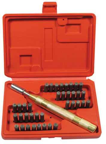 "38pc Number & Letter Stamping Set with Automatic Punch 1/8"" (3mm) Size A-Z 0-8"