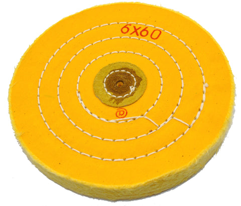 "Yellow Treated Chemkote Buffing Wheel 6""x 60 Ply"