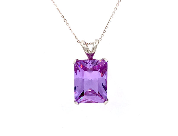 925 Sterling Silver Octagon Shaped Amethyst Purple Solitaire Pendant 20x15 15 CT Lab Created