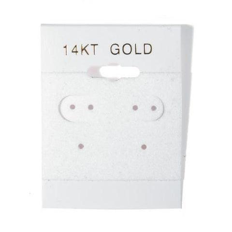 """14KT Gold"" White Hanging Earring Cards - BX561-1G"