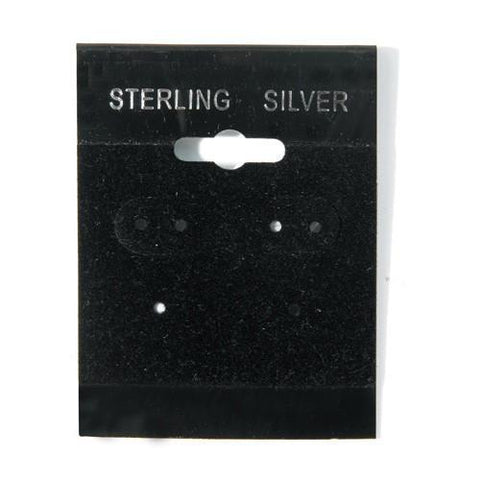 """Sterling Silver"" Black Hanging Earring Cards - BX561S - 20 Pieces (100pcs/pk)"