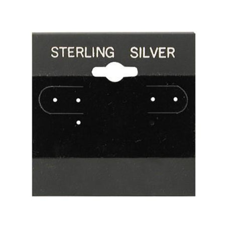 """Sterling Silver"" Black Hanging Earring Cards - BX573S - 20 Pieces (100pcs/pk)"