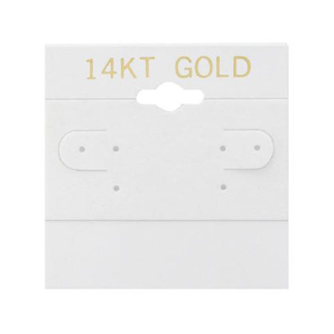 """14KT Gold"" White Hanging Earring Cards - BX579G - 20 Pieces (100pcs/pk)"