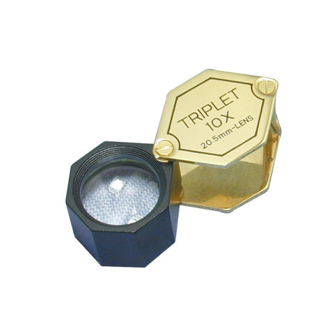 Triplet Loupe 10 x 20.5mm Gold/ Black Tone