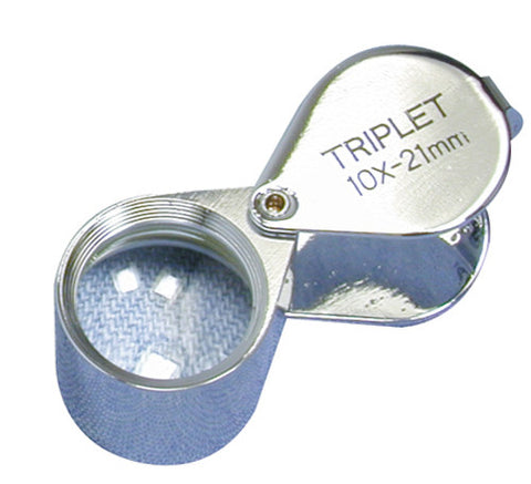 Triplet Loupe 10 x 21mm Silver