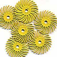 "Foredom Radial Bristle Discs, 80 Grit, Yellow, 1"", 6-Pk"