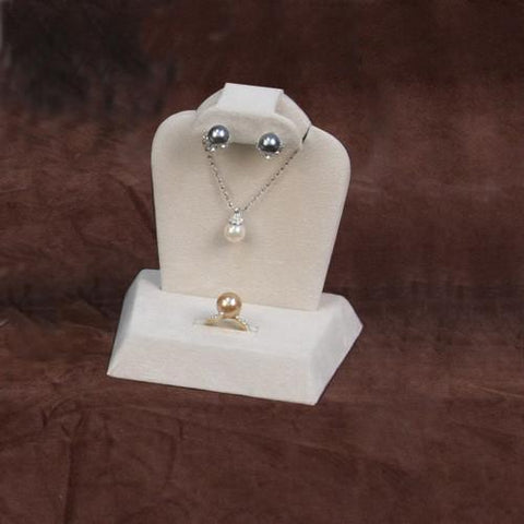 Beige Suede Combination Necklace, Earring, and Ring Display Stand - XD-2917Q - 36 Pieces