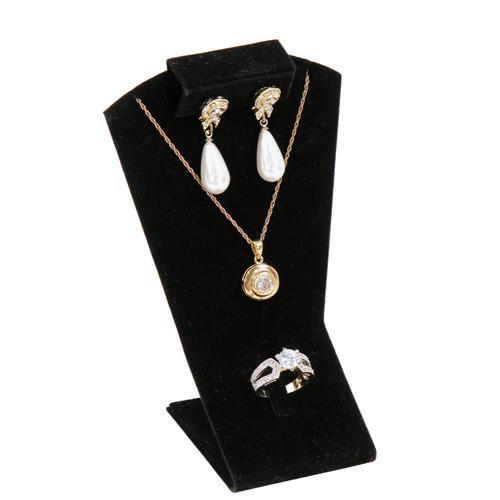 Black Velvet Combination Necklace, Earring, and Ring Display Stand - XD-2992 - 12 Pieces