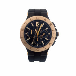 Bvlgari Black Carbon 18K Rose Gold Diagono Ultranero Chronograph Mens DG42BSPGCH