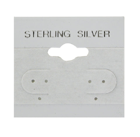 "100 Pc Gray Sterling Silver Hanging 1.5"" x 1.5"" Earring Card"