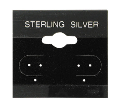 "100Pc Black Sterling Silver Hanging 1.5"" x 1.5"" Earring Card"
