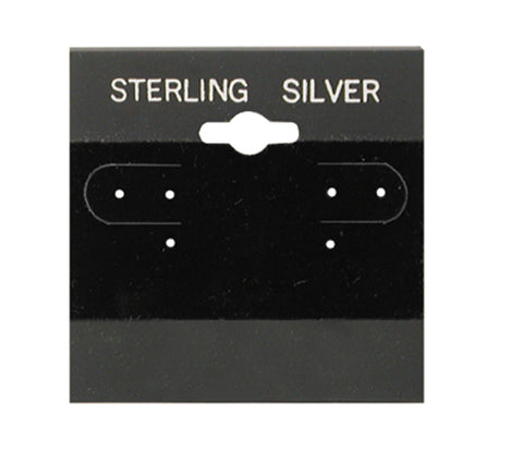 "100Pc Black Sterling Silver Hanging 2"" x 2"" Earring Card"