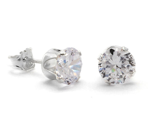 Sterling Silver Round Cubic Zirconia Clear White CZ Stud Earrings 7mm Stone .925